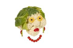 Creative food. Portrait of a woman made of vegetabl Stock Images
