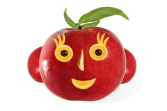 Creative food.  Positive portrait  made of apple and fruits Royalty Free Stock Images