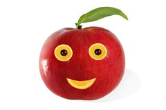 Creative food.  Positive portrait  made ??of apple and fruits Royalty Free Stock Images