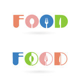 Creative food word icon elements design with spoon,knife , fork Stock Image