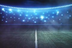 Creative football field backdrop. Abstract football field at night. Creative backdrop Stock Photography