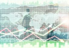 Fund management and growth concept. Creative forex background with businesspeople. Fund management and growth concept. Double exposure Royalty Free Stock Photos