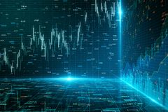 Creative forex chart background. Creative glowing forex chart background with grid. Invest and trade concept. 3D Rendering royalty free stock image