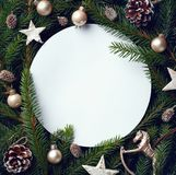 Frame of Christmas tree branches and decorations royalty free stock image