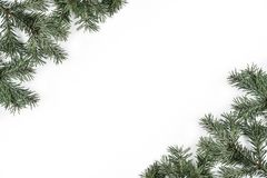 Creative frame made of Christmas Fir branches on white background. Xmas and Happy New Year theme. Flat lay, top view royalty free stock images