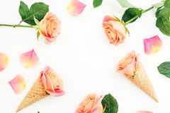 Creative frame made of roses flowers, petals and ice cream waffle cones on white background. Flat lay, top view. Creative frame made of roses flowers, petals royalty free stock photography