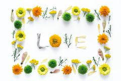 Word LOVE Made Of Flowers. Creative frame and word `LOVE` made of flowers on white background royalty free stock photos