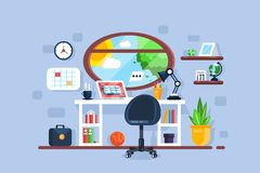 Creative freelancer workplace interior with window. Table chair laptop. Work desk concept. Flat style. Vector illustration vector illustration