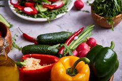 Creative fresh vegetable salad with ruccola, cucumber, tomatoes and raddish on white plate, selective focus. Creative fresh vegetable salad with ruccola Royalty Free Stock Photos