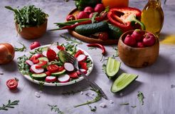 Creative fresh vegetable salad with ruccola, cucumber, tomatoes and raddish on white plate, selective focus. Creative fresh vegetable salad with ruccola Stock Images