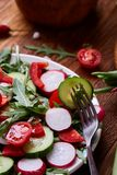 Creative fresh vegetable salad with ruccola, cucumber, tomatoes and raddish on white plate, selective focus. Creative fresh vegetable salad with ruccola Royalty Free Stock Image