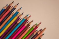 Creative, friendly team. A series of colored, sharpened pencils. Friendly, cheerful team, ready to work. Creative task, business. View from above Stock Photo