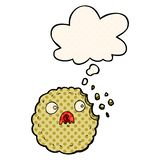 A creative frightened cookie cartoon and thought bubble in comic book style. An original creative frightened cookie cartoon and thought bubble in comic book stock illustration