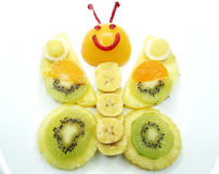 Creative fruit child dessert butterfly form Royalty Free Stock Images