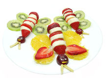 Creative fruit child dessert butterfly form Stock Image