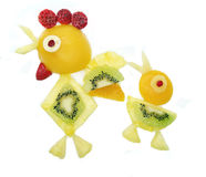 Creative fruit child dessert cock bird form Royalty Free Stock Images