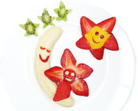 Creative fruit child dessert moon and stars form Royalty Free Stock Image