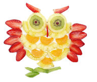 Creative fruit child dessert owl bird form. Creative fruit dessert for child funny owl bird royalty free stock photo
