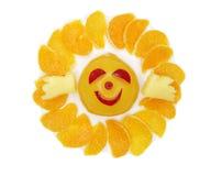 Creative fruit child dessert owl sun form Royalty Free Stock Photos