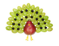 Creative fruit child dessert peacock form Royalty Free Stock Image