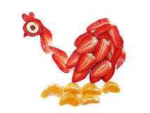 Creative fruit child dessert swan form Stock Image