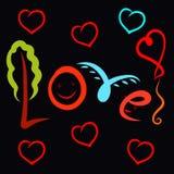Creative fun word Love on a black background.  vector illustration