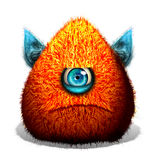 Creative funny one eye monster. Cartoon cute one eyed furry monster Royalty Free Stock Photos