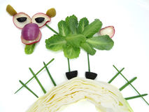 Creative funny vegetable snack with cucumber Royalty Free Stock Image