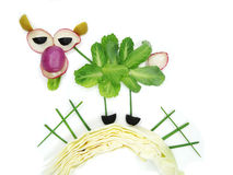 Creative funny vegetable snack with cucumber Stock Photography