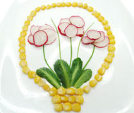 Creative funny vegetable snack with radish Stock Image