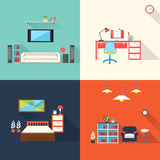 Creative furniture icons set in flat design Stock Photo