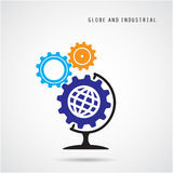 Creative gear abstract vector logo design and globe sign. Royalty Free Stock Images