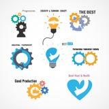 Creative gear and hand icon vector design Royalty Free Stock Photos