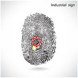 Creative gear idea concept with fingerprint symbol,industrail si. Creative gear idea concept with fingerprint symbol .Industrial sign , business ideas .Vector Stock Photo
