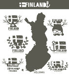 Creative geographic map of Finland - Scandinavian Royalty Free Stock Image
