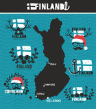 Creative geographic map of Finland Stock Photos