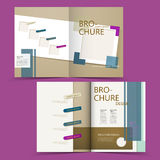 Creative geometric half-fold brochure design. Isolated on purple background Royalty Free Stock Photos