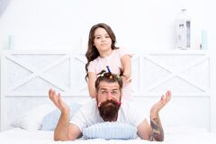 Free Creative Girl. Childrens Day. Love And Trust. Daughter And Father With Funny Hairdo. Hairdresser And Barbershop. Happy Royalty Free Stock Image - 179332426