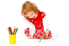 Creative girl with pencils Stock Photo