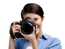 Creative girl-photographer takes images Royalty Free Stock Photo