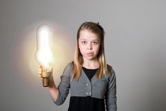 Creative girl thinking of ideas Royalty Free Stock Photography