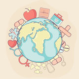 Creative globe with medical elements for healthy life concept. Royalty Free Stock Photography