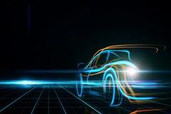 Transportation and design concept. Creative glowing digital car on black background. Transportation and design concept. 3D Rendering Stock Photos
