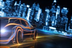 Transport and journey concept. Creative glowing digital car on blurry night city background. Transport and design journey. 3D Rendering Royalty Free Stock Photography