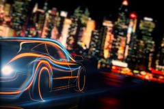 Transport and vehicle concept. Creative glowing digital car on blurry night city background. Transport and vehicle concept. 3D Rendering Stock Photos