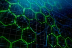 Digital green hexagon background stock photo