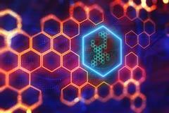 Digital red hexagon backdrop. Creative glowing digital red hexagon backdrop. Science and design concept. 3D Rendering Stock Images