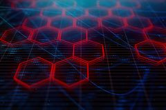Digital red hexagon background. Creative glowing digital red hexagon background. Science and design concept. 3D Rendering Royalty Free Stock Photo