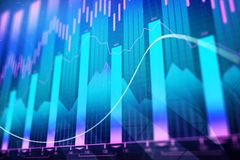 Creative forex chart background. Creative glowing forex chart background. Investment, finance and trade concept. 3D Rendering Stock Photography