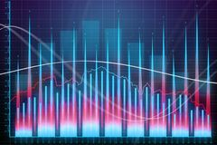 Market growth, finance and profit concept. Creative glowing forex chart background. Market growth, finance and profit concept. 3D Rendering Royalty Free Stock Images